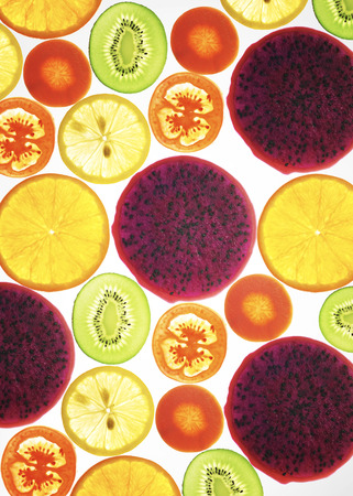 lit collection: collection of fruits and vegetables on a white background , back lit .