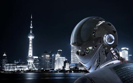 Robot Stijlvolle op Shanghai stad Achtergrond