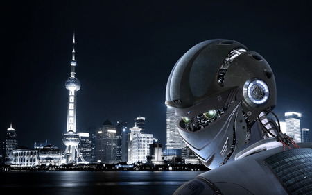 android robot: Robot Stylish on Shanghai city Background