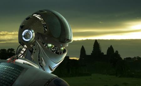 Robot Stijlvolle op Angkor Wat achtergrond Stockfoto