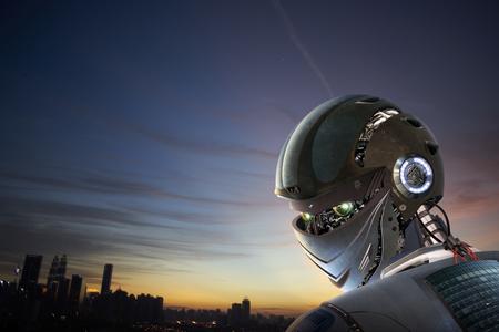robot: Elegante robot de Shanghai de la ciudad de fondo Foto de archivo