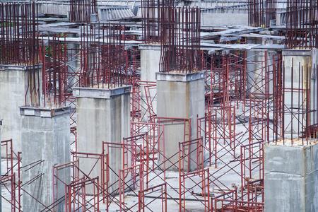 prop: cement prop in building construct site Stock Photo