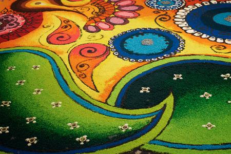 deepak: Deepak with colourful rangoli
