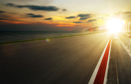 one: Motion blurred racetrack,warm mood