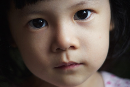 expressive face: Close up portrait of young cute girl Stock Photo