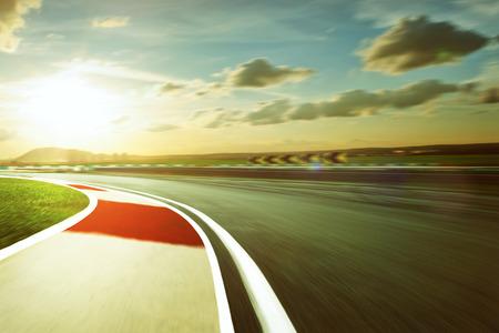 speed car: Motion blurred racetrack,vintage mood mood