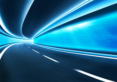 Abstract blurred speed motion road in glass tunnel underwater,cold mood