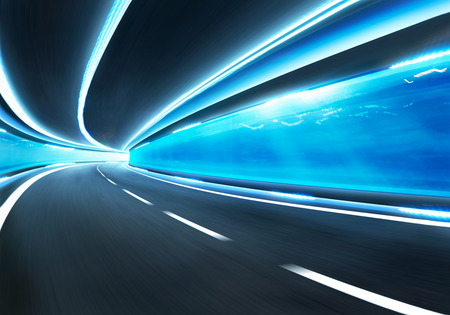 express lane: Abstract blurred speed motion road in glass tunnel underwater
