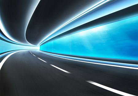 motion blur: Abstract blurred speed motion road in glass tunnel underwater