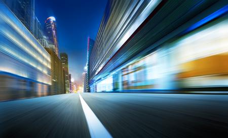speed car: urban street landscape motion blur background,cold mood