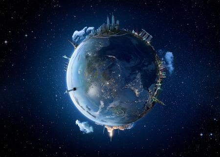 Kuala Lumpur city, Reis op onze planeet Aarde. Het concept van het wereldmonument. Stockfoto