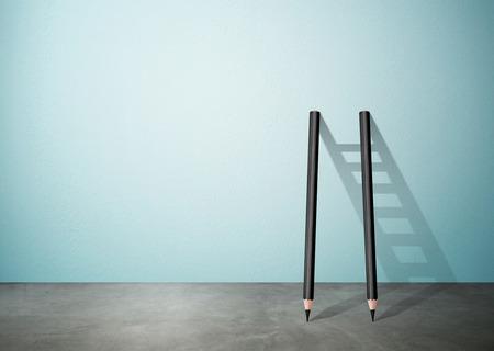 achievable: Success creative concept, pencil Ladder with copy space