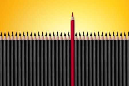 boldness: Red pencil standing out from crowd of plenty identical black fellows on white table. Leadership, uniqueness, independence, initiative, strategy, dissent, think different, business success concept Stock Photo