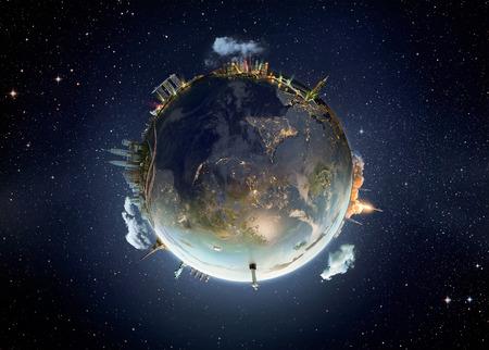 la ciudad de Shanghai, Viaje nuestro planeta Tierra. El concepto de monumento mundo.