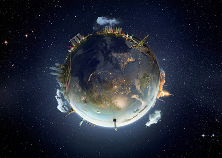planets: Shanghai city, Travel our Earth planet. The world monument concept.