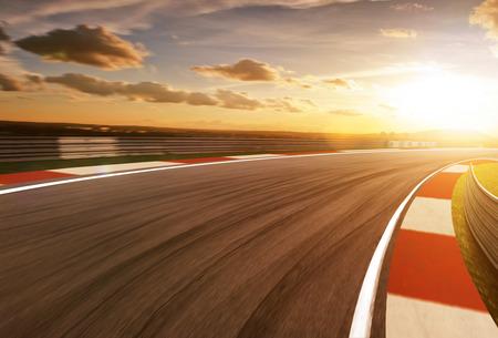 Motion blurred racetrack,golden hour mood