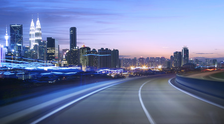 speed car: moving forward motion blur background,night scene Stock Photo