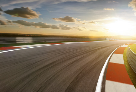 Motion blurred racetrack,sunrise mood Imagens