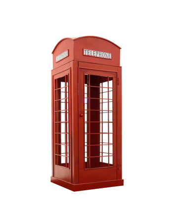 phonebox: Red telephone box isolated on a white background. This has clipping path. Stock Photo