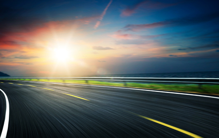 empty highway, blue toned images. motion blur . Stock Photo