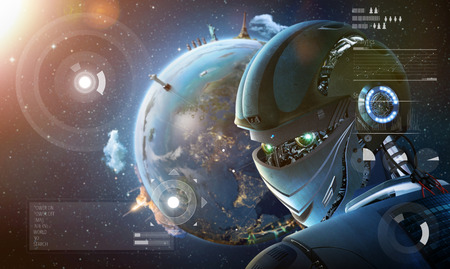 Robot stylish looking back with planet Earth from space. Future technology concept, artificial intelligence. Elements of this image furnished by NASA Stock Photo