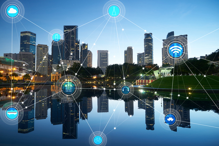 smart city and wireless communication network, abstract image visual, internet of things Imagens - 59063933