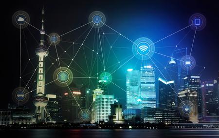 slimme stad en draadloos communicatienetwerk, abstract beeld visuele, internet van de dingen