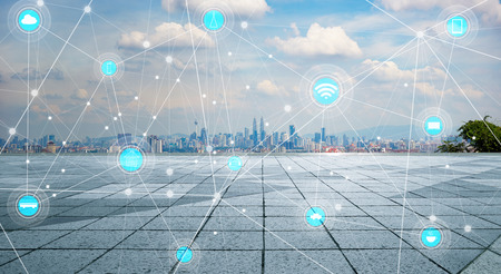 smart city and wireless communication network, abstract image visual, internet of things Imagens - 59063945