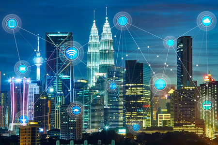 inteligentne miasta i bezprzewodowa sieć komunikacyjna, abstrakcyjny obraz wizualny, Internet przedmiotów