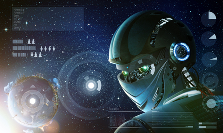 technology: Robot stylish looking back with planet Earth from space. Future technology concept, artificial intelligence. Elements of this image furnished by NASA Stock Photo