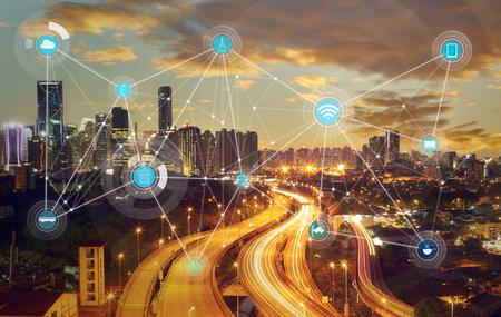 Ville intelligente et d'un réseau de communication sans fil, image abstraite visuelle, Internet des objets Banque d'images - 59063964