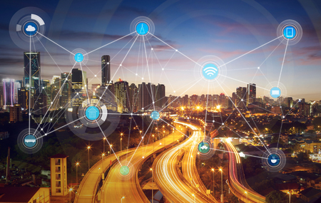 ciudad inteligente y la red de comunicación inalámbrica, la imagen visual abstracta, Internet de las cosas