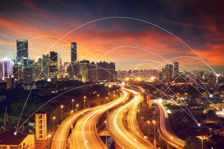 network connection: city scape and network connection concept  Image ID:411942079