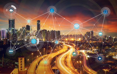 smart city and wireless communication network, abstract image visual, internet of things Imagens - 59063992