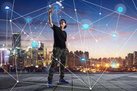 stad scape en netwerk-verbinding concept Afbeelding