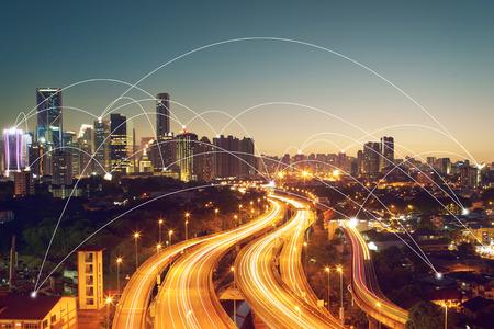 Stadtbild und Konzept Bild-ID-Netzwerkverbindung: 411942079
