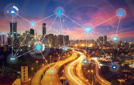 스마트 도시 및 무선 통신 네트워크, 시각 추상적 인 이미지, 사물의 인터넷