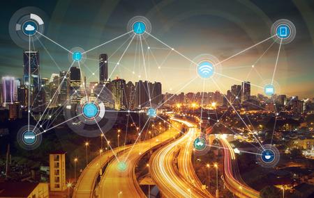 ville intelligente et d'un réseau de communication sans fil, image abstraite visuelle, Internet des objets