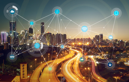 electric grid: smart city and wireless communication network, abstract image visual, internet of things