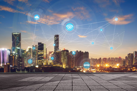 smart city and wireless communication network, abstract image visual, internet of things Imagens - 60134427