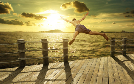 Jumping into the Ocean at Sunset, Summer Fun Lifestyle