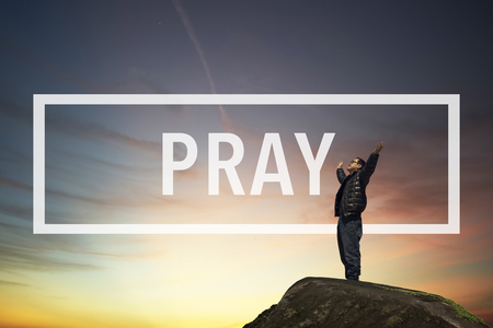 thankfulness: Pray Confession Faith Religion Thankfulness Concept