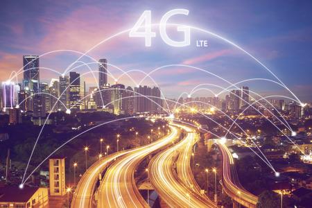 stad scape en verbinding concept en 4G LTE-lettertype