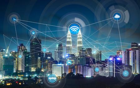Stad scape en de netwerkverbinding begrip