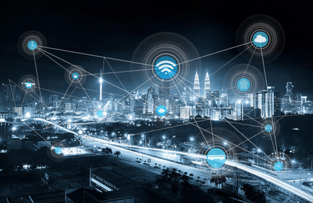 smart city and wireless communication network, abstract image visual, internet of things, mono blue tone .