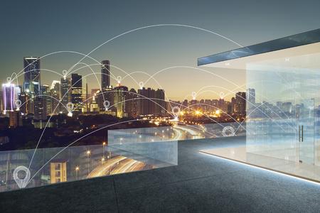 블루 톤 도시 풍경 및 네트워크 연결 개념 위의지도 핀 플랫