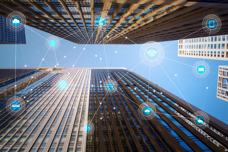 wireless network: Looking up lower angle exterior commercial building and wireless communication network, abstract image visual, internet of things .