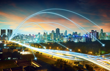 network connection: city scape and network connection concept
