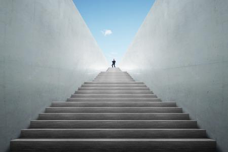 Persoonlijke ontwikkeling, persoonlijke en carrière groei, vooruitgang en mogelijke concepten. Coach (human resources officer, manager, mentor) te motiveren werknemer aan de groei.