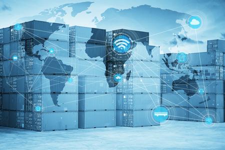 Mappa connessione globale di partnership logistica e della rete di comunicazione senza fili, immagine astratta visiva, internet delle cose